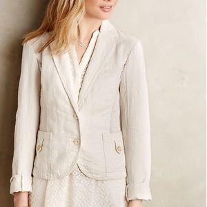 Anthropologie Linen Openwork Blazer Jacket Cream